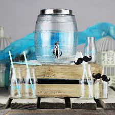 Glass beverage dispenser sets drinkware