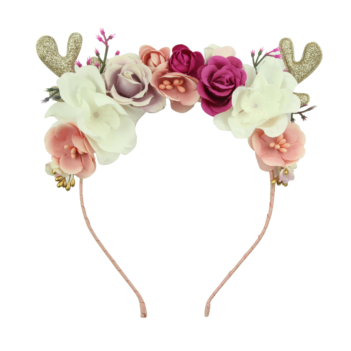 glitter environmental suede PU leather deer ears fancy rose flowers Alice teenage girls hairband women headband wholesale5916